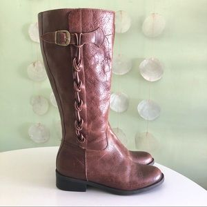 Brazilian Leather Braided Riding Boots
